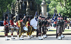 Balaklava Company, The Argyll and Sunderland Highlanders, 5th Battalion The Royal Regiment of Scotland take part in the Ceremony of the Keys at  Holyroodhouse on July 2, 2018, where the Queen is symbolically offered the keys to the city of Edinburgh by the Lord Provost.