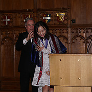 London,England,UK. 31th March 2017: Lord David Brewer presents Lui Jing winner of the awards of the Master of the Art of Acting at the Athene Festival 2017 at Guildhall,London,UK. by See Li