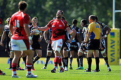 Dean Schofield (London Welsh) raises his arms in frustration - Photo mandatory by-line: Patrick Khachfe/JMP - Mobile: 07966 386802 06/09/2014 - SPORT - RUGBY UNION - Oxford - Kassam Stadium - London Welsh v Exeter Chiefs - Aviva Premiership