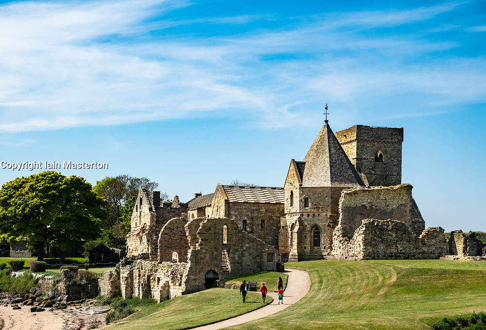 View of Incholm Abbey on Inchcolm Island in on the Firth of Forth river in Scotland, UK, United Kingdom