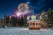Fireworks over Aspen, Colorado on New Year's Eve.
