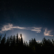 Stars, moon, clouds and forest at night in the Cascade Mountains near Mount Rainier National Park, Washington.