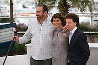 Director Michel Franco, Actress Tessa la Gonzales, Actor Hernán Mendoza at the Despuée De Lucia film photocall at the 65th Cannes Film Festival France. Monday 21st May 2012 in Cannes Film Festival, France.