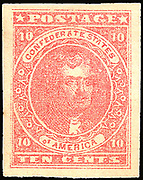 Confederate postage stamp, ten cent rose, general issue 1862, type 5 Postage stamp depicts Thomas Jefferson printed in red. Postal service of the Confederate States of America.