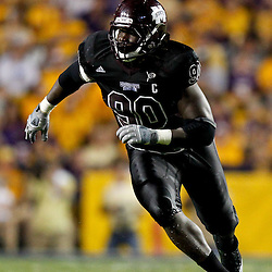 Sep 18, 2010; Baton Rouge, LA, USA;  Mississippi State Bulldogs defensive tackle Pernell McPhee (90) rushes the LSU Tigers quarter during the second half at Tiger Stadium. The LSU Tigers defeated the Mississippi State Bulldogs 29-7. Mandatory Credit: Derick E. Hingle