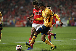 December 23, 2018 - Lisbon, Portugal - Pablo of Braga (R) vies for the ball with Gedson Fernandes of Benfica (L)  during the Portuguese League football match between SL Benfica and SC Braga at Luz Stadium in Lisbon on December 23, 2018. (Credit Image: © Carlos Palma/NurPhoto via ZUMA Press)