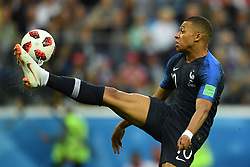 Kylian Mbappé of France in action during the 2018 FIFA World Cup Russia Semi Final match between Belgium and France at Saint Petersburg Stadium on July 10, 2018 in Saint Petersburg, Russia. Photo by Lionel Hahn/ABACAPRESS.COM