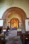 Norman Romanesque interior of the Norman Romanesque Church of St Mary and St David, Kilpeck Herefordshire, England. Built around 1140 .<br /> <br /> Visit our MEDIEVAL PHOTO COLLECTIONS for more   photos  to download or buy as prints https://funkystock.photoshelter.com/gallery-collection/Medieval-Middle-Ages-Historic-Places-Arcaeological-Sites-Pictures-Images-of/C0000B5ZA54_WD0s