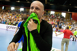 Gorazd Skof #12 of Slovenia after handball match between National teams of Slovenia and Hungary in play off of 2015 Men's World Championship Qualifications on June 15, 2014 in Rdeca dvorana, Velenje, Slovenia. Photo by Urban Urbanc / Sportida