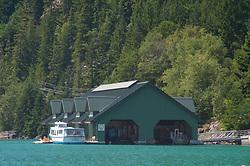 Seattle City Light Boathouse on Diablo Lake, North Cascades National Park, Washington, US