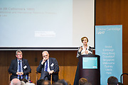 Admiralty, Hong Kong - April 08 2017: <br /> Nicola Padfield, Professor Sir Leszek Borysiewicz, Professor Eilís Ferran, Professor David Cardwell, Nicola Padfield and Cambridge Alumni / guests, attend Global Cambridge in Hong Kong 2017 - 'How is Cambridge tackling the world's most pressing global problems?' Panel Discussion at the Asia Society Hong Kong Centre on April 08, 2017 in Admiralty, Hong Kong. (Photo by Moses Ng / Moz Images)