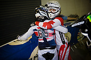 #49 (NYHAUG Tory) CAN congratulates  #65 (PHILLIPS Liam) GBR  on his win at the UCI BMX Supercross World Cup in Manchester, UK Nyhaug got second place