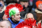 28.02.2015.  Edinburgh, Scotland. 6 Nations Championship. Scotland versus Italy.  Italian fans with headwear.