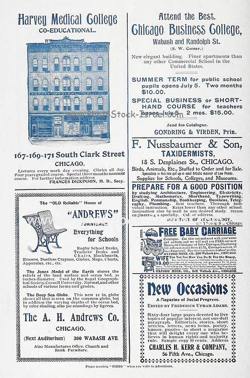 Ads for Chicago Business and Harvey Medical colleges Appeared in a monthly magazine called 'Birds : illustrated by color photography' a monthly serial. Knowledge of Bird-life in 1897.