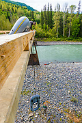 No boat launches here. Dean Bell and Cliff Watts lower rafts for a September fly fishing float-trip down BC's Skeena River.