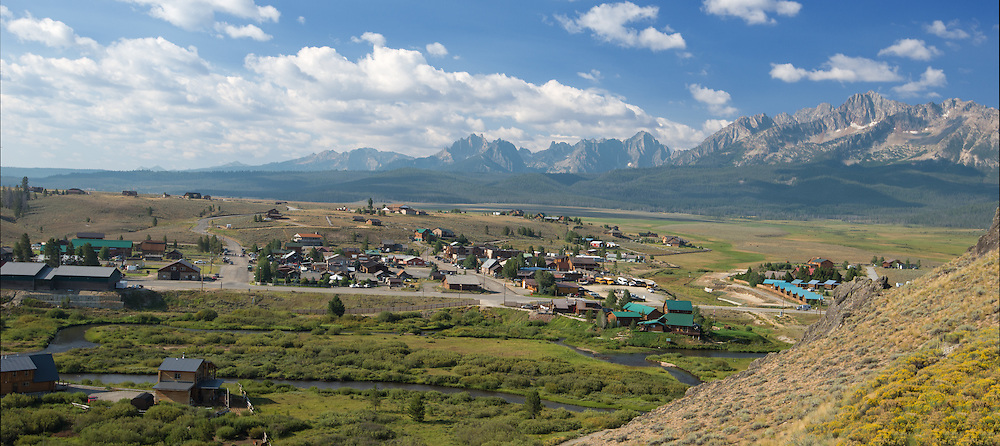 The town of Stanley and the Sawtooth Mountains, Idaho.