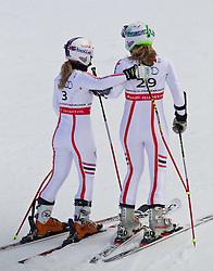 17.02.2011, Kandahar, Garmisch Partenkirchen, GER, FIS Alpin Ski WM 2011, GAP, Riesenslalom, im Bild Tessa Worley (FRA) // Tessa Worley (FRA) und Anne-Sophie Barthet (FRA) // Anne-Sophie Barthet (FRA) during Giant Slalom Fis Alpine Ski World Championships in Garmisch Partenkirchen, Germany on 17/2/2011. EXPA Pictures © 2011, PhotoCredit: EXPA/ J. Groder