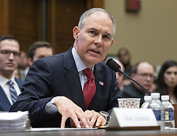 April 26, 2018 - Washington, District of Columbia, U.S. - SCOTT PRUITT, Administrator, United States Environmental Protection Agency (EPA) testifies before the US House Committee on Energy and Commerce on the Fiscal Year 2019 Environmental Protection Agency Budget on Capitol Hill.  Pruitt was questioned extensively about his spending and ethic lapses while running the EPA. (Credit Image: © Ron Sachs/CNP via ZUMA Wire)