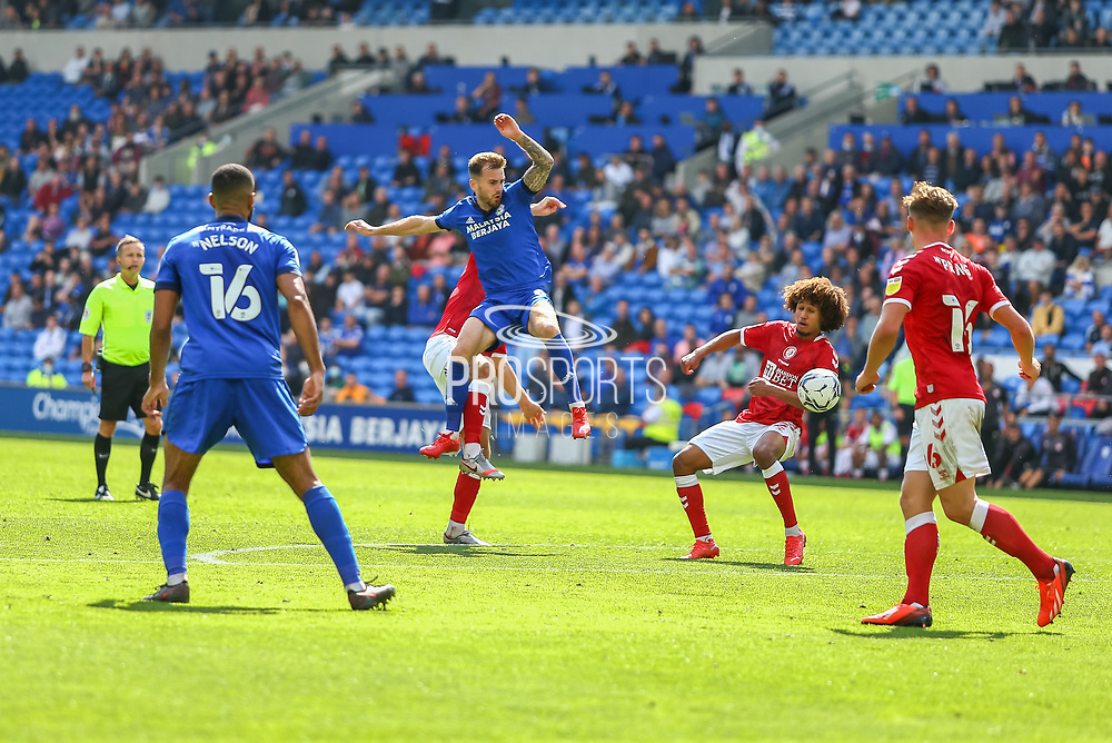 Cardiff City midfielder Joe Ralls (8) in action during the EFL Sky Bet Championship match between Cardiff City and Bristol City at the Cardiff City Stadium, Cardiff, Wales on 28 August 2021.