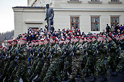 About 10000 Czech citizens accompanied the remains of Vaclav Havel from the Old Town part in Prague across Charles Bridge   up to Prague Castle, the seat of Czech presidents. Soldiers at the mourning procession for former President Vaclav Havel at Prague Castle in front of the statue of the first president of Czechoslovakia Tomas Masaryk.