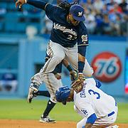 Aug 16 2014 - Los Angeles U.S. CA - Brewers 2B # 23 Rickie Weeks during MLB game between LA Dodgers and  Milwaukee Brewers win 3-2 at Dodger Stadium Los Angeles Calif.