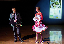 Ervin Curlic and Nina Mozetic during special artistic roller skating event when Lucija Mlinaric of Slovenia, World and European Champion ended her successful sports career, on November 7, 2015 in Rence, Slovenia. Photo by Vid Ponikvar / Sportida