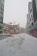Vienna, Austria. Snow covered appartment buildings at Hellerpark..On 1/17/2013, 30+ centimeters of snow fell in Vienna, slowing down many aspects of public life.