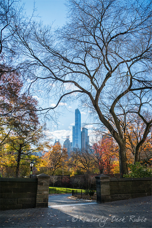 Morning in Central Park at the 65th Street / Central Park West pedestrian entrance. New York City, New York.