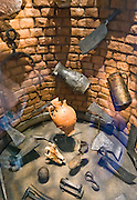 A historic well excavated on Jamestown Island yielded many objects which bring the past back to life, in this exhibit in the Voorhees Archaearium Museum, at Historic Jamestowne, Virginia, USA. This National Historic Site is part of Colonial National Historical Park. Jamestown was founded by the Virginia Company of London on May 14, 1607 on Jamestown Island, and is commonly regarded as the first permanent English settlement in what is now the United States of America. (Several earlier colonies failed.) Located in James City County when it was formed in 1634 as one of the original eight shires of Virginia, Jamestown was the capital of the Colony for 83 years, from 1616 until 1698. In 1698, the capital was relocated to Middle Plantation, about 8 miles (13 km) distant, a small community which was already home to the new College of William and Mary in 1693 and was renamed Williamsburg in 1699.