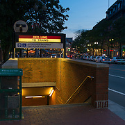 Metro station entrance red line near Harvard university, Boston
