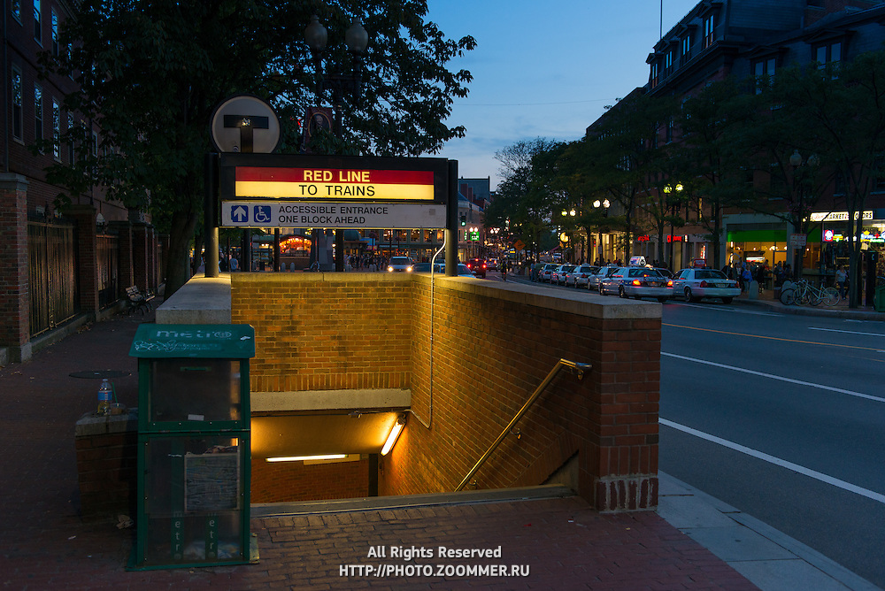 Metro station entrance red line near Harvard university, Boston