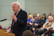 Former Texas governor Mark White comments during a meeting of the Houston ISD Board of Trustees, January 14, 2016.