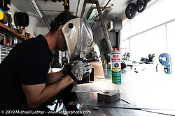 Max Hazan working on his Bonneville Salt-Shaker that he was building with a 1,650cc Motus V4 engine in collaboration with and as a commission for Bobby Haas and his Haas Moto Museum. In July, 2020, Max hit 215 mph on this bike and broke its class record. Photographed on a visit to Max's Los Angeles, CA shop. Thursday, June 20, 2019. Photography ©2019 Michael Lichter.
