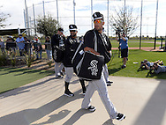 GLENDALE, AZ - FEBRUARY 24:  Jose Abreu #79 of the Chicago White Sox walks to the practice fields during spring training workouts on February 24, 2015 at The Ballpark at Camelback Ranch in Glendale, Arizona. (Photo by Ron Vesely)   Subject:   Jose Abreu