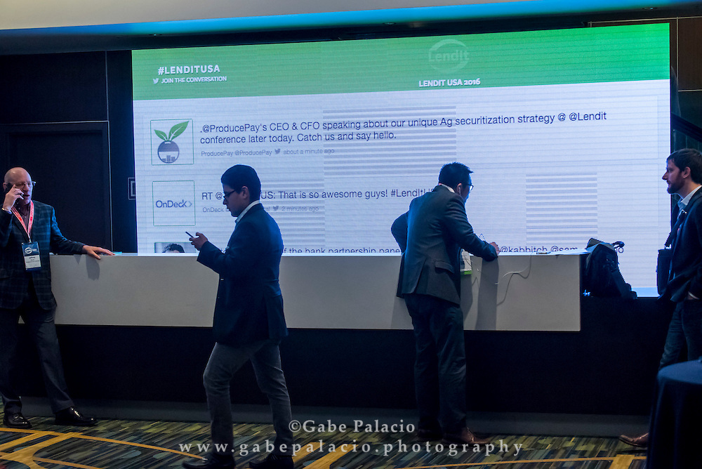 Twitter wall at the LendIt USA 2016 conference in San Francisco, California, USA on April 11, 2016. (photo by Gabe Palacio)