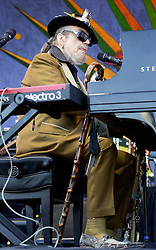 """03 May 2015. New Orleans, Louisiana.<br /> The New Orleans Jazz and Heritage Festival. <br /> Dr John, Malcolm John """"Mac"""" Rebennack plays the Gentilly stage.<br /> Photo; Charlie Varley/varleypix.com"""