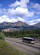 Holland America Westours on Denali Park Road heading toward the Denali Visitors Center