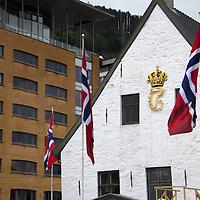 Europe, Norway, Bergen. Norwegian Flags in Bergen.