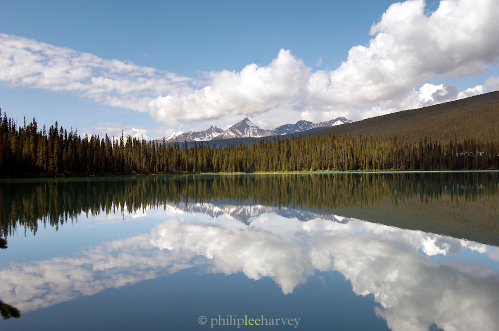 Reflection in Emerald Lake, Rocky Mountains, British Colombia, Yoho National Park, Canada, North America.