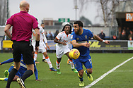 AFC Wimbledon striker Andy Barcham (17) chasing the ball during the EFL Sky Bet League 1 match between AFC Wimbledon and Blackpool at the Cherry Red Records Stadium, Kingston, England on 20 January 2018. Photo by Matthew Redman.
