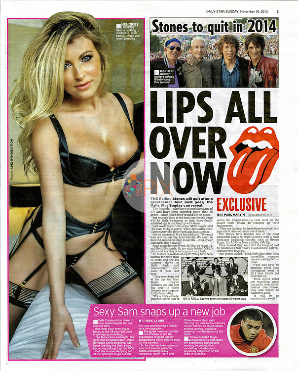Sam Cooke in Daily Star Sunday UK :: 10 November 2013 p3<br /> <br /> Main image from our shoot 'Sam Cooke :: hotel', available now with a full release: https://www.apixsyndication.com/gallery/Sam-Cooke-hotel/G0000NhzxPfGKdJA/C00003G_LZ.ok9PA