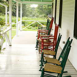 The front porch at the Oakland House Seaside Resort in Brooksville, Maine.  Blue Hill Peninsula.  East Penobscot Bay.