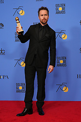 "Sam Rockwell Winner of 'Best performance by an actor in a supporting role in any motion picture' for Three Billboards Outside Ebbing, Missouri' poses during NBC's ""75th Annual Golden Globe Awards"" press room held at the Beverly Hilton Hotel on January 07, 2018 in Beverly Hills, CA, USA (Photo by Carlos Amaya/Sipa USA)"