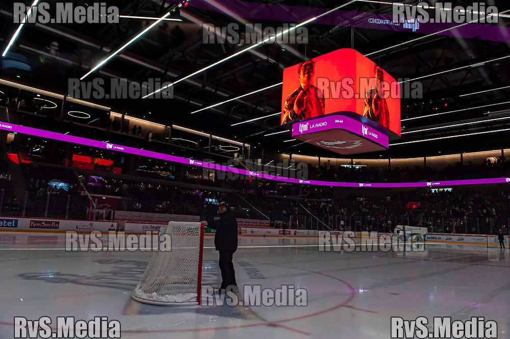 LAUSANNE, SWITZERLAND - NOVEMBER 05: LFM advertisement on Jumbotron during the Swiss National League game between Lausanne HC and HC Davos at Vaudoise Arena on November 5, 2019 in Lausanne, Switzerland. (Photo by Robert Hradil/RvS.Media)