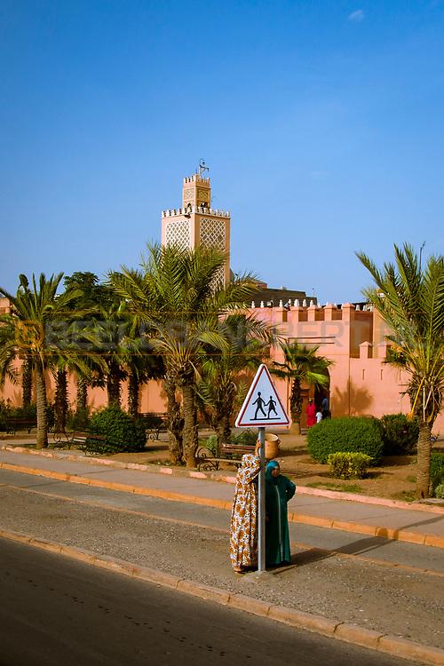 06-10-2015 -  Foto van Stadsmuren rond de medina bij De stad van Marrakech in Marrakech, Marokko.