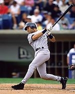 CHICAGO - 2000:  Derek Jeter of the New York Yankees bats during an MLB game versus the Chicago White Sox during the 2000 season at Comiskey Park in Chicago, Illinois. (Photo by Ron Vesely)  Subject:   Derek Jeter