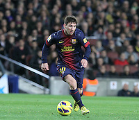 06.01.2013 Barcelona, Spain. La Liga day 18. Picture show Leo Messi in action during game between FC Barcelona against RCD Espanyol at Camp Nou