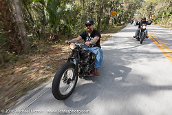Bill Dodge riding through Tomoka State Park during Daytona Bike Week 75th Anniversary event. FL, USA. Thursday March 3, 2016.  Photography ©2016 Michael Lichter.