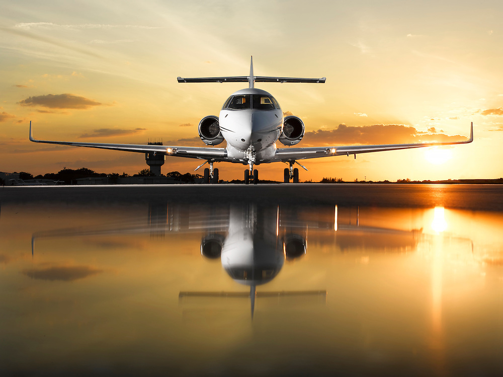 Hawker at sunset, head-on Hawker 800,  sunset, Aviation photography, Aircraft photography, South Florida, Aviation photography Miami, Palm Beach, Stuart, Opa Locka, Florida, Aviation photography Fort Lauderdale, Aviation photography South Florida, Jerry Wyszatycki, Avatar Productions