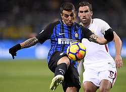 MILAN, Jan. 22, 2018  Inter Milan's Matias Vecino (L) competes with Roma's Kevin Strootman during a Serie A soccer match between Inter Milan and Roma in Milan, Italy, Jan. 21, 2018. The game ends with a 1-1 tie. (Credit Image: © Alberto Lingria/Xinhua via ZUMA Wire)